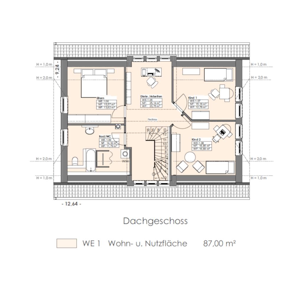 Landhausstil mit Einlieger 179 Dachgeschoss Grundriss