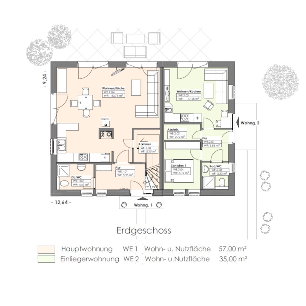 Landhausstil mit Einlieger 179 Erdgeschoss Grundriss