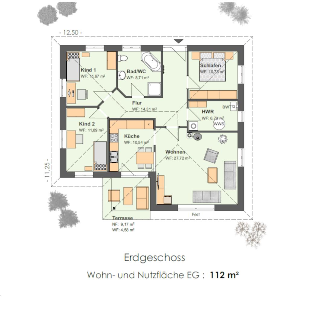 Haustyp Winkelbungalow 112 Grundriss
